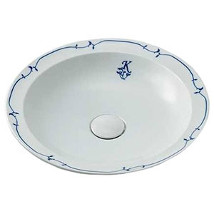 カクダイ 丸型洗面器 《奏》 置型タイプ 排水・国内8 化粧キャップ・器固定金具付 シルク 493-055-W