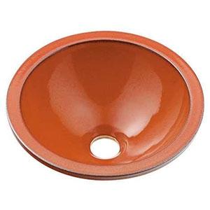 カクダイ 丸型手洗器 《瑠珠》 オーバーカウンタータイプ 排水・国内7 鉄赤 493-013-R