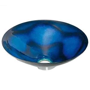 カクダイ 丸型手洗器 《絢音》 置型タイプ 排水・国内8 器固定金具付 紺透 493-047-B