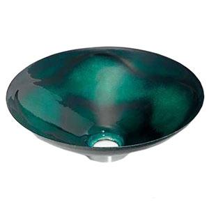 カクダイ 丸型手洗器 《絢音》 置型タイプ 排水・国内8 器固定金具付 緑透 493-047-GR
