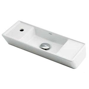 カクダイ 角型手洗器 《Luju》 Lホール・置型タイプ 排水・国内7 カウンター固定金具付 493-065