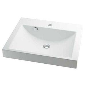 カクダイ 角型洗面器 《CORPOSO》 半埋めタイプ 容量10L 排水・専用3 専用排水上部セット・オーバーフロー機能付 493-072