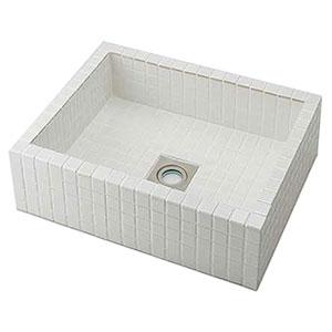 カクダイ 角型洗面器 《響》 置型タイプ 排水・国内8 ホワイト 493-143-W