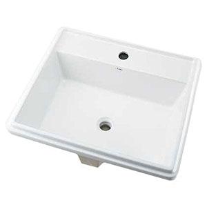 カクダイ 角型洗面器 《Luju》 1ホール・オーバーカウンタータイプ 容量12.5L 排水・国内1 オーバーフロー機能付 493-151