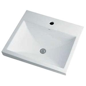 カクダイ 角型洗面器 《Luju》 1ホール・半埋めタイプ 容量6.5L 排水・国内1 オーバーフロー機能付 493-003