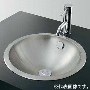 カクダイ ステンレス丸型洗面器 《鉄穴》 オーバーカウンタータイプ 容量3L 排水・専用5 専用排水上部セット・オーバーフロー機能付 493-040
