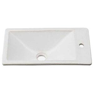 カクダイ 角型手洗器 《瑠珠》 オーバーカウンタータイプ 排水・国内7 月白 493-010-W