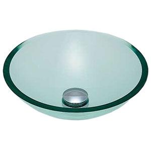 カクダイ ガラス丸型洗面器 《硝》 置型タイプ 排水・専用1 専用排水上部セット・化粧キャップ付 493-025-C