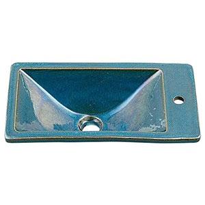 カクダイ 角型手洗器 《瑠珠》 オーバーカウンタータイプ 排水・国内7 孔雀 493-010-CB