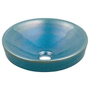 カクダイ 丸型手洗器 《瑠珠》 半埋めタイプ 排水・国内7 孔雀 493-012-CB
