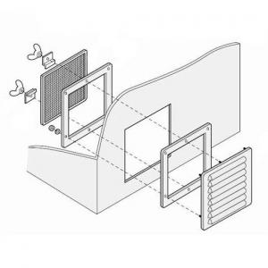 篠原電機 通気ギャラリー+押え枠+防虫網 IP31 屋内推奨 鋼板・ステンレス製 G1-15S-SET-B