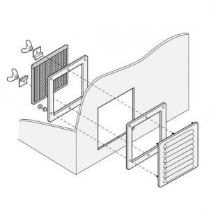篠原電機 通気ギャラリー+押え枠+防塵フィルター IP31 屋内推奨 鋼板・ステンレス製 G1-15S-SET-C