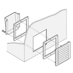 篠原電機 通気ギャラリー+押え枠+吹込防止カバー IP22 屋外使用可 鋼板・ステンレス製 G1-15S-SET-D