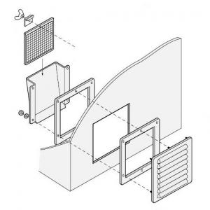 篠原電機 通気ギャラリー+押え枠+吹込防止カバー+防虫網 IP32 屋外使用可 ステンレス製 G1-20S-SET-ES