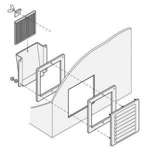 篠原電機 通気ギャラリー+押え枠+吹込防止カバー+防塵フィルター IP32 屋外使用可 鋼板・ステンレス製 G1-20S-SET-F