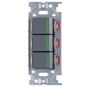 スガツネ工業 ガイドランプ付埋込トリプルスイッチ AC125V 15A ソリッドグレー PXP-J-NKW03009-SG