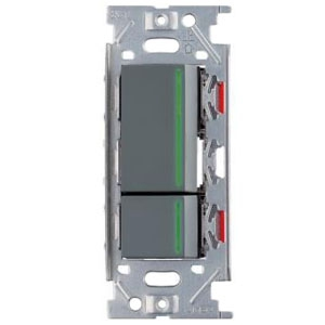 スガツネ工業 ガイドランプ付埋込ダブルスイッチ AC125V 15A ソリッドグレー PXP-J-NKW02009-SG