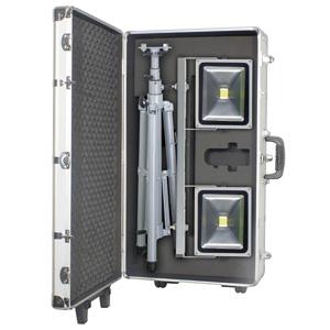 日動工業 LED作業灯 50W 三脚2灯式 伸縮ハンドル・キャスター付ハードケース入り 簡易防雨型 昼光色 6000K 定格光束3370Lm LPR-S50LW-3ME-ABOX