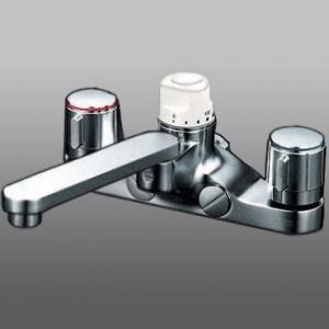 KVK デッキ形定量止水付2ハンドル混合栓 取付ピッチ200mm ブラスト仕上げ 《KM296お湯ぴたシリーズ》 KM296