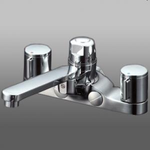 【使い勝手の良い】 KM296ZGT:電材堂 寒冷地用 取付ピッチ200mm KVK 寒冷地用 《KM296お湯ぴたシリーズ》 デッキ形定量止水付2ハンドル混合栓-木材・建築資材・設備