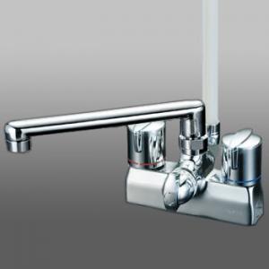 KVK デッキ形一時止水付2ハンドルシャワー 寒冷地用 固定こま仕様 取付ピッチ100mm KF205ZG