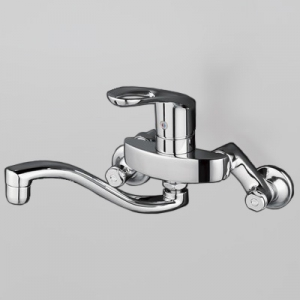 KVK シングルレバー式混合栓 逆止弁付 上向パイプ 泡沫吐水 《KM5000Tフルメタルシリーズ》 KM5000TH
