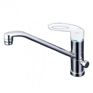 KVK 流し台用シングルレバー式混合栓 給水接続専用 回転分岐止水栓・逆止弁付 樹脂製ハンドル 《KM5041Cシリーズ》 KM5041C