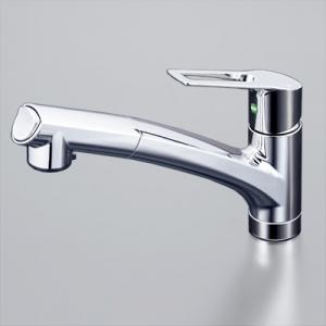 KVK 流し台用シングルレバー式シャワー付混合栓 シャワー引出し式 逆止弁付 《eレバー水栓シリーズ》 KM5021TEC