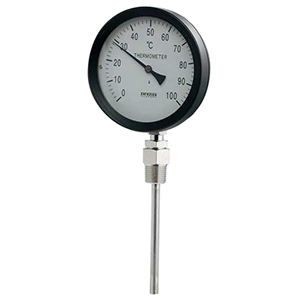 カクダイ バイメタル製温度計 ストレート型 対応温度100℃ 窓枠径100mm 長さ100mm 649-907-100B