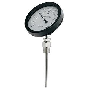カクダイ バイメタル製温度計 45度傾斜型 対応温度100℃ 窓枠径100mm 長さ50mm 649-911-50B