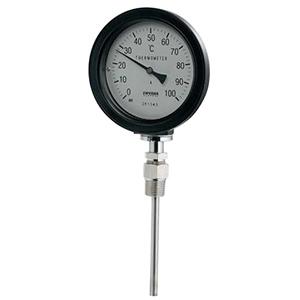 カクダイ バイメタル製温度計 ストレート型 防水タイプ 対応温度100℃ 窓枠径100mm 長さ50mm 649-913-50B