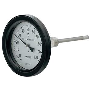 カクダイ バイメタル製温度計 アングル型 防水タイプ 対応温度100℃ 窓枠径100mm 長さ50mm 649-915-50B