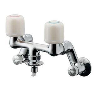 カクダイ 洗濯機用混合栓 水抜可能共用タイプ 自動閉止機構・逆流防止機能・ストッパー付 127-303