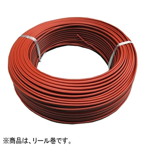 KHD 異色平形コード 300V 2.0㎟ 100mリール巻 赤/黒 VFF2.0SQアカ/クロボビン×100m