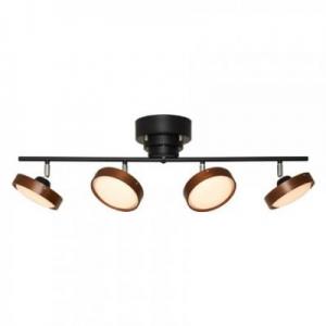 ヤザワ LEDスポットシーリングライト 4灯 電球色相当 リモコン式 木目:ダークブラウン バー:ブラック Y07CEL40L02BK