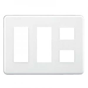 東芝 スイッチ/コンセント用プレート 簡易耐火 8(3+3+2)個用 ニューホワイト 《WIDE i/E's》 WDG5418H(WW)