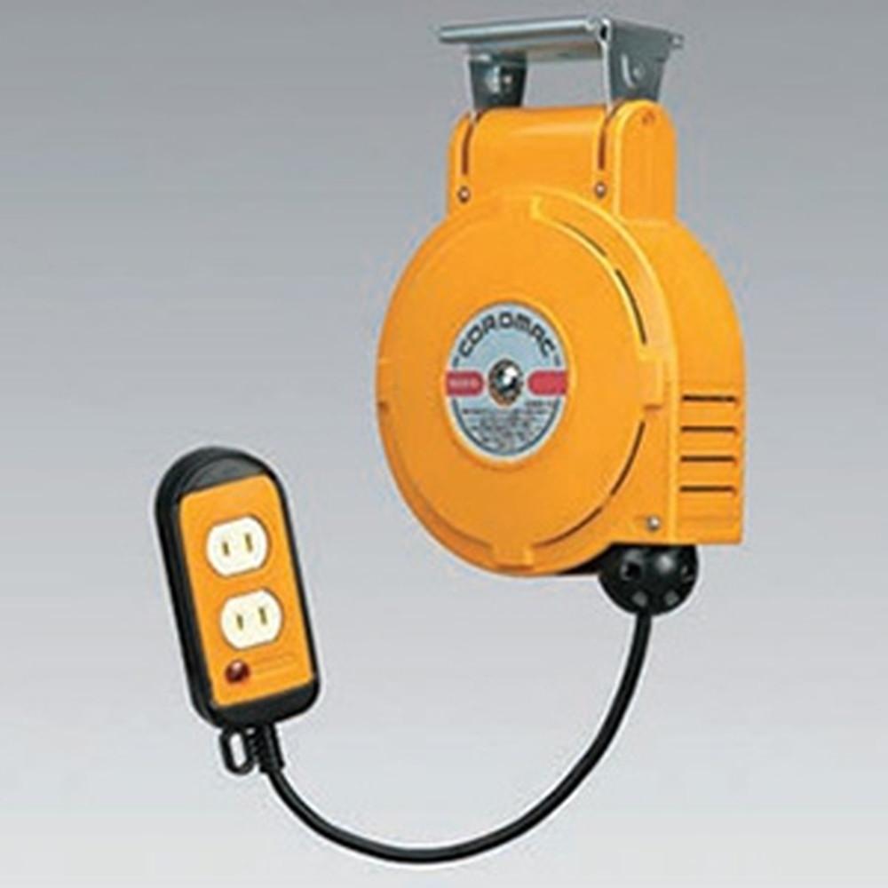 ハタヤ 取付型自動巻取リール 電気用 《コードマックS》 100V型 2P二ッ口コンセント 電線長6m VCTF1.25㎟×2C 温度センサー内蔵 CSS-061W