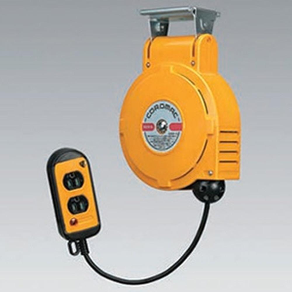 ハタヤ 取付型自動巻取リール 電気用 《コードマックS》 100V型 2P接地付二ッ口コンセント 電線長6m VCTF1.25㎟×3C 温度センサー内蔵 CSS-061WK