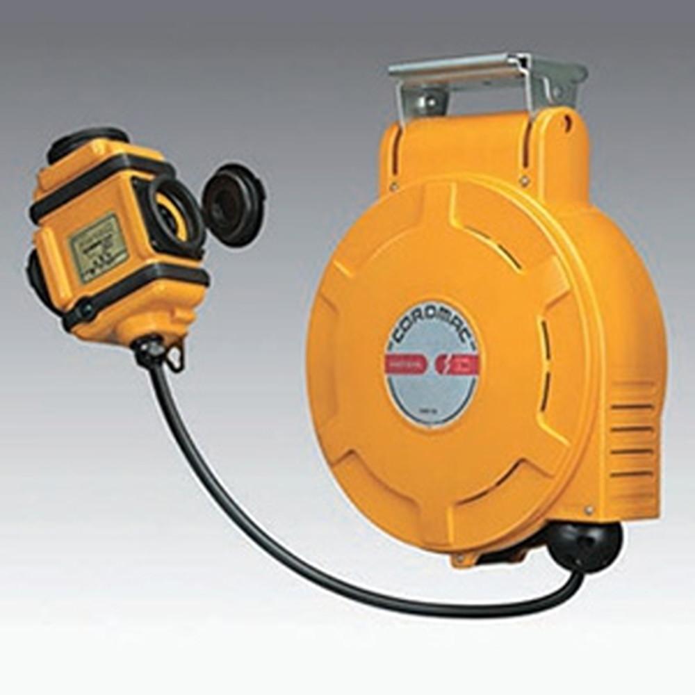 ハタヤ 取付型自動巻取リール 電気用 《コードマックL》 200V型 3P接地付三ッ口コンセント 電線長13m VCT2.0㎟×3C CLD-132M