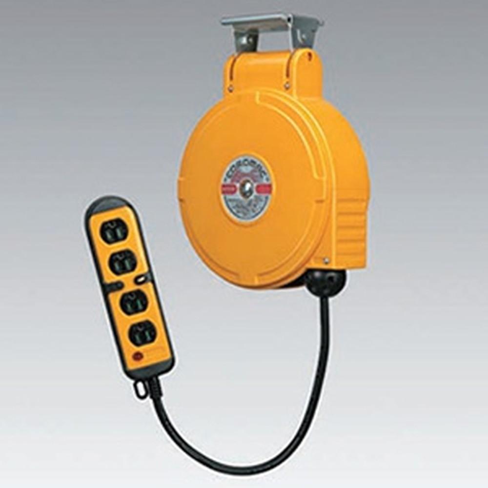 ハタヤ 取付型自動巻取リール 電気用 《コードマックMS》 100V型 2P接地付四ッ口コンセント 電線長8m VCT2.0㎟×3C 温度センサー内蔵 CBS-082QK