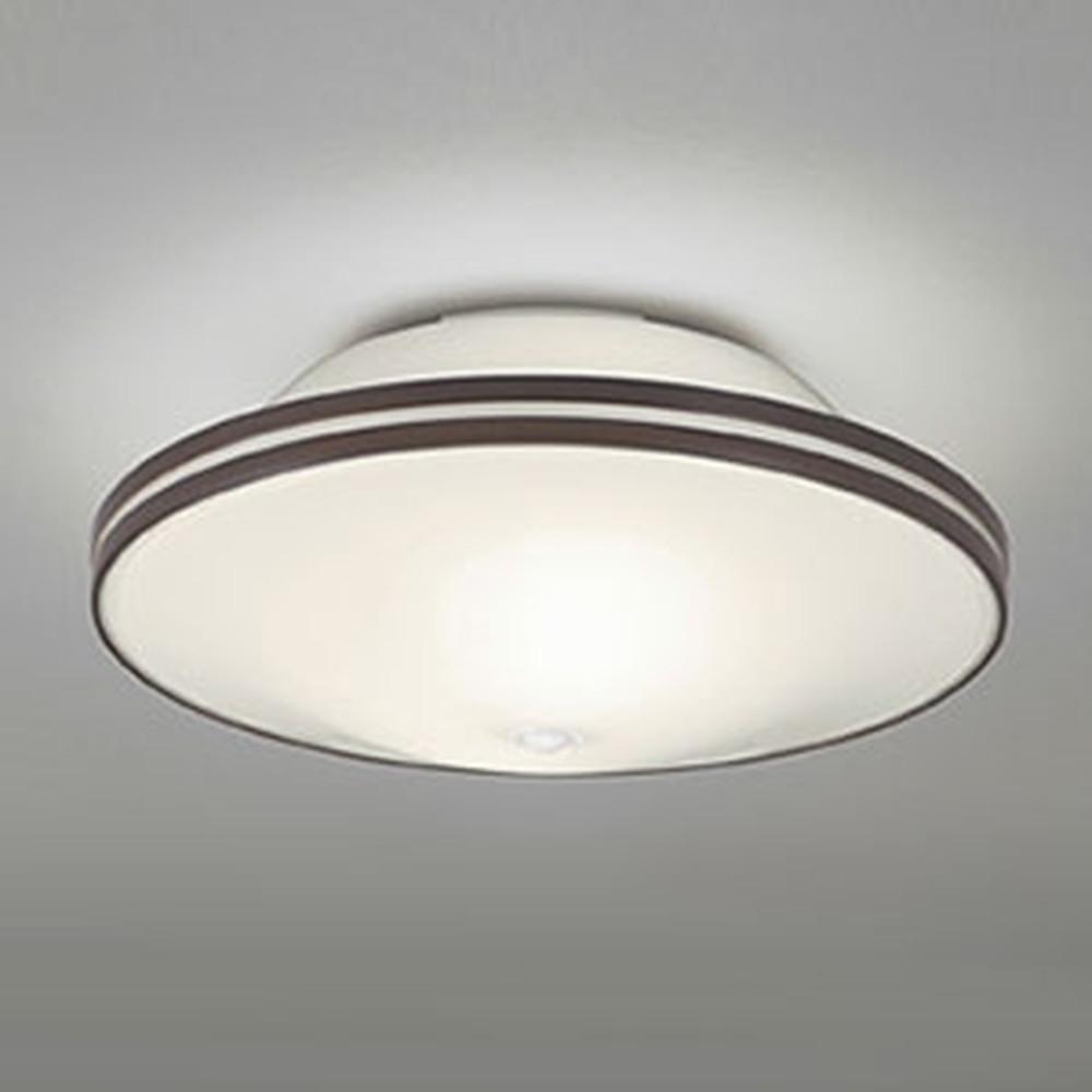 オーデリック LEDシーリングライト ポーチライト連動型 白熱灯50W×2灯相当 電球色 非調光タイプ 人感センサー付 エボニーブラウン OL011251LD1