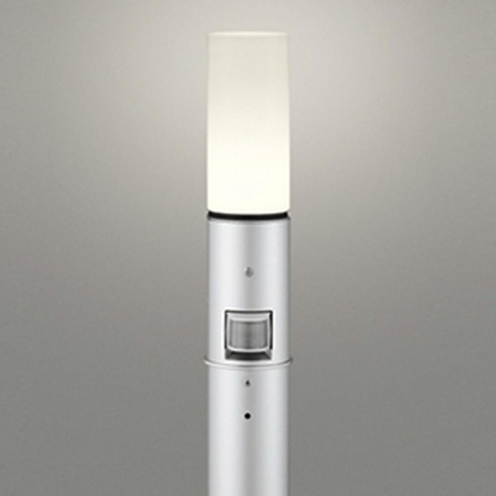 オーデリック LEDガーデンライト 防雨型 白熱灯60W相当 電球色 人感センサー付 地上高1000mm マットシルバー OG254662LC
