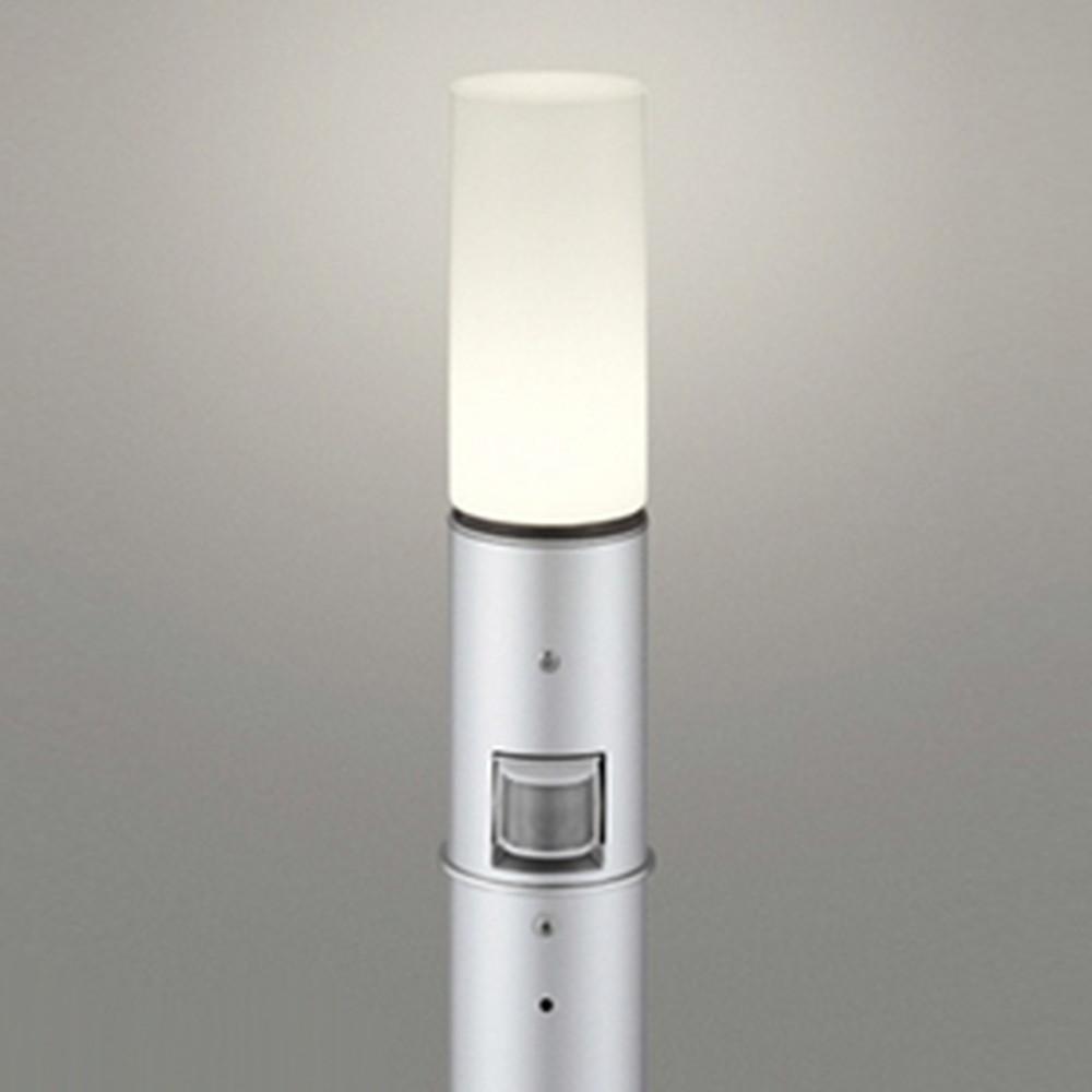 オーデリック LEDガーデンライト 防雨型 白熱灯60W相当 電球色 人感センサー付 地上高700mm マットシルバー OG254664LC