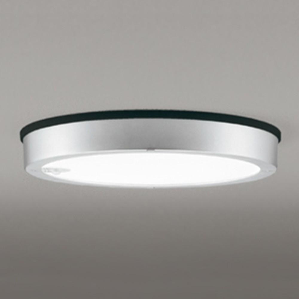 オーデリック LEDシーリングダウンライト 《FLATPLATE》 防雨型 軒下取付専用 FCL30W相当 電球色 人感センサ付 マットシルバー OG254818