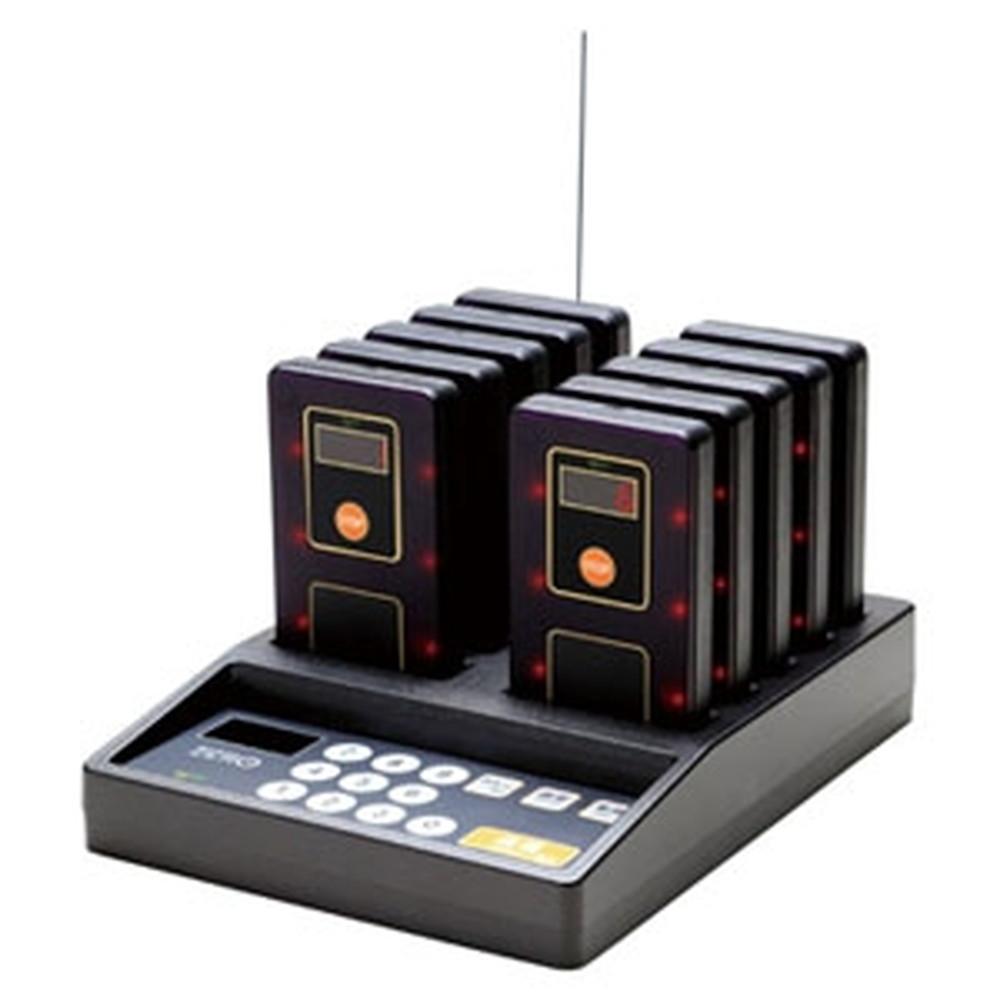 マイコール 業務用呼び出しシステム 《ゲストレシーバーZERO》 送信操作機・充電器1台+受信機10台セット 電波距離約150m 圏外機能付 GRZst-110