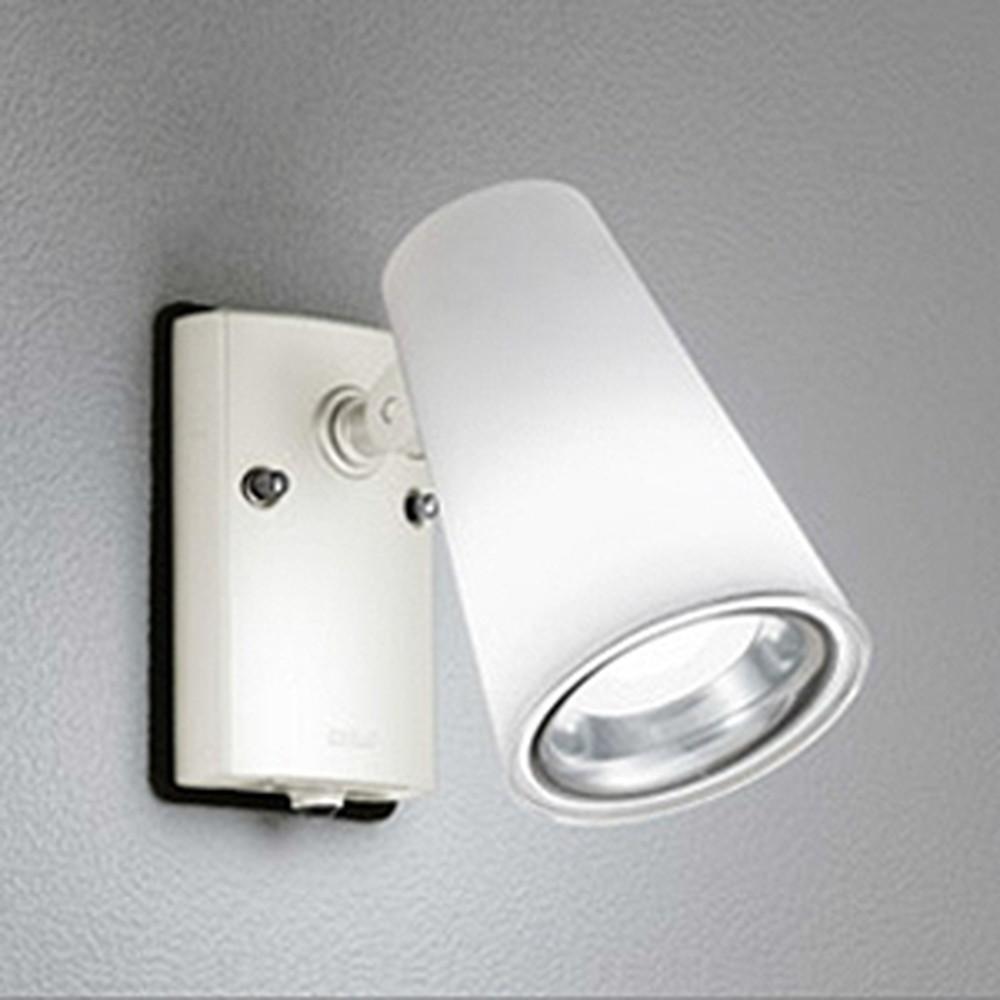オーデリック LEDスポットライト 防雨型 白熱灯60W相当 電球色 人感センサ付 ホワイト OG254341LD