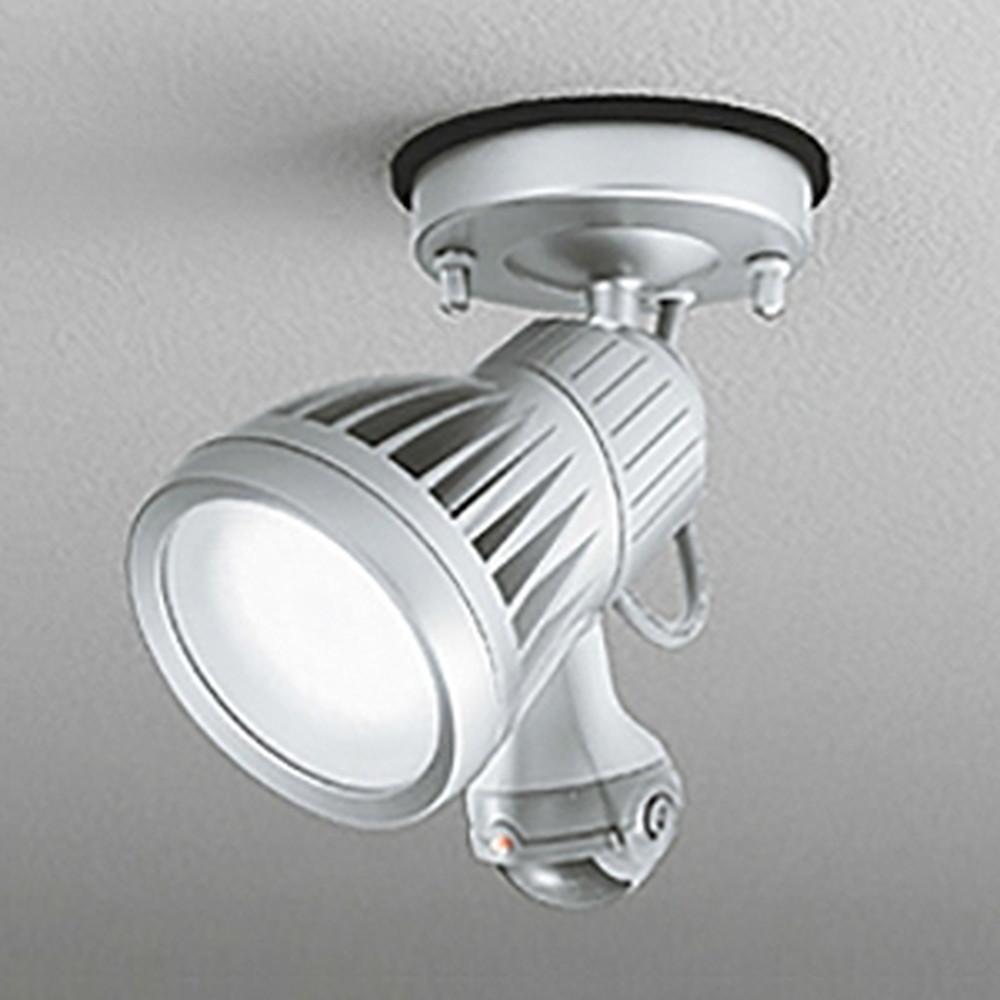 オーデリック LEDスポットライト 防雨型 壁面・天井面取付兼用 ハロゲン球100W相当 昼白色 人感センサ付 マットシルバー OG254374