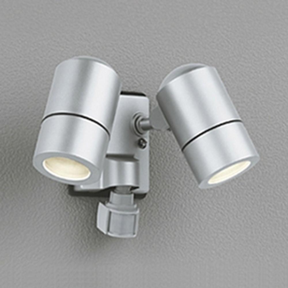 オーデリック LEDスポットライト 防雨型 白熱灯50W×2灯相当 電球色 人感センサ・フラッシュ機能付 マットシルバー OG254638LD