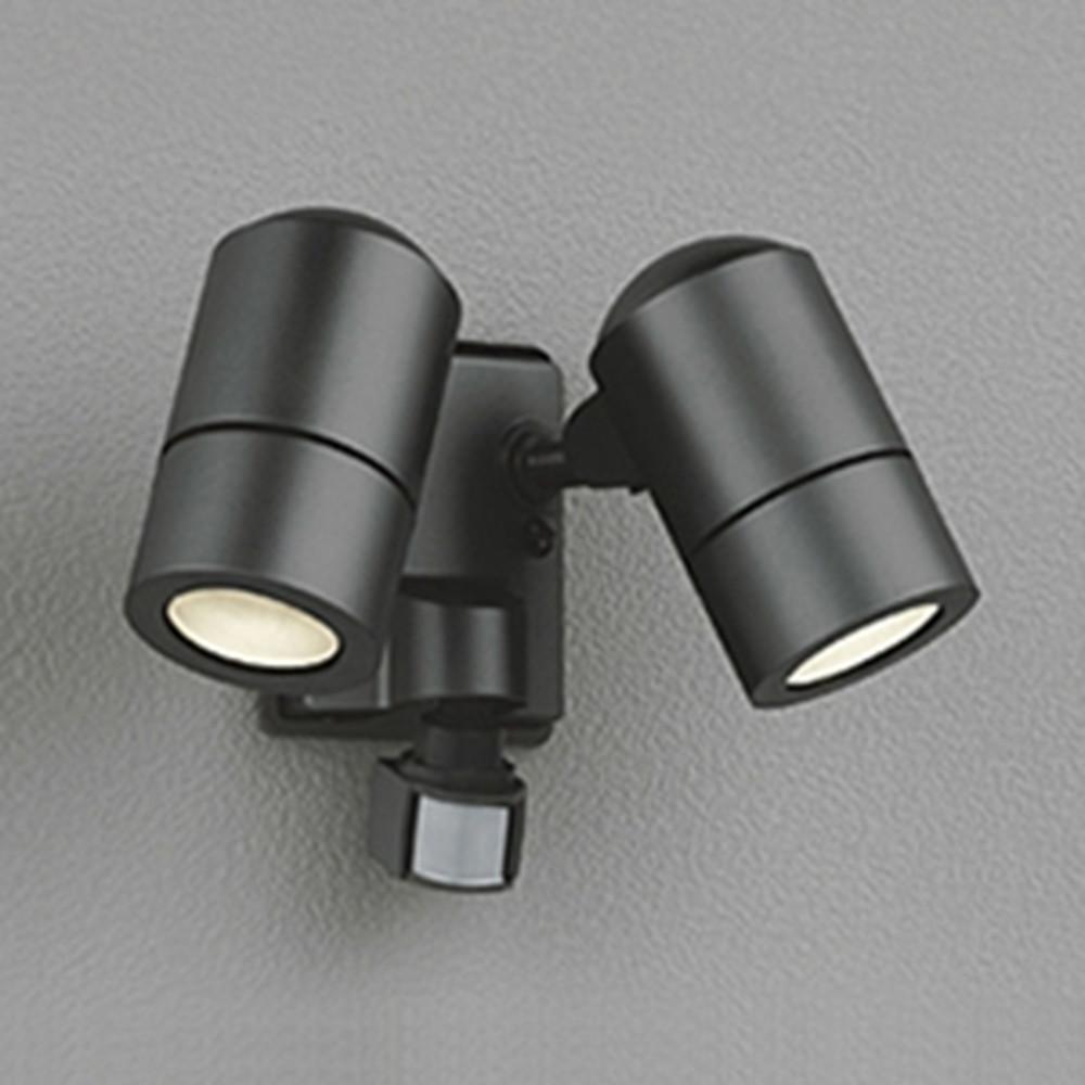オーデリック LEDスポットライト 防雨型 白熱灯50W×2灯相当 電球色 人感センサ・フラッシュ機能付 黒色サテン OG254637LD