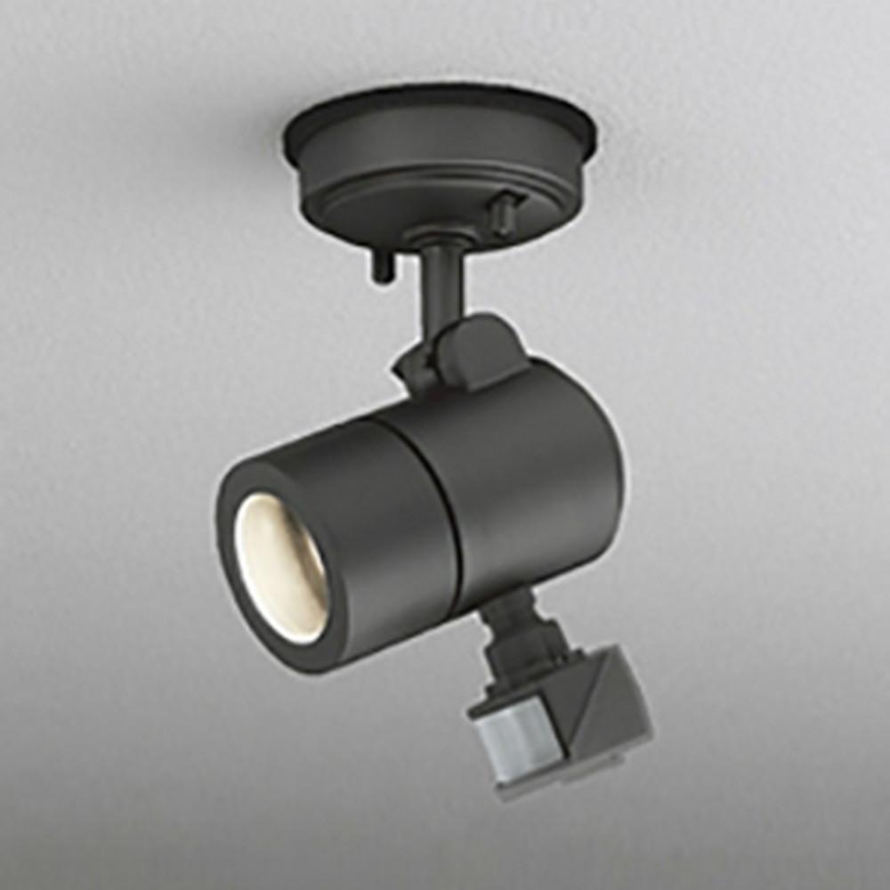 オーデリック LEDスポットライト 防雨型 天井面取付専用 JDR50W相当 E11口金 人感センサ付 ランプ別売 黒色サテン OG254579